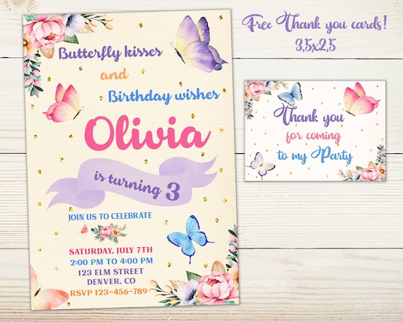 Butterfly Invitation Floral Birthday