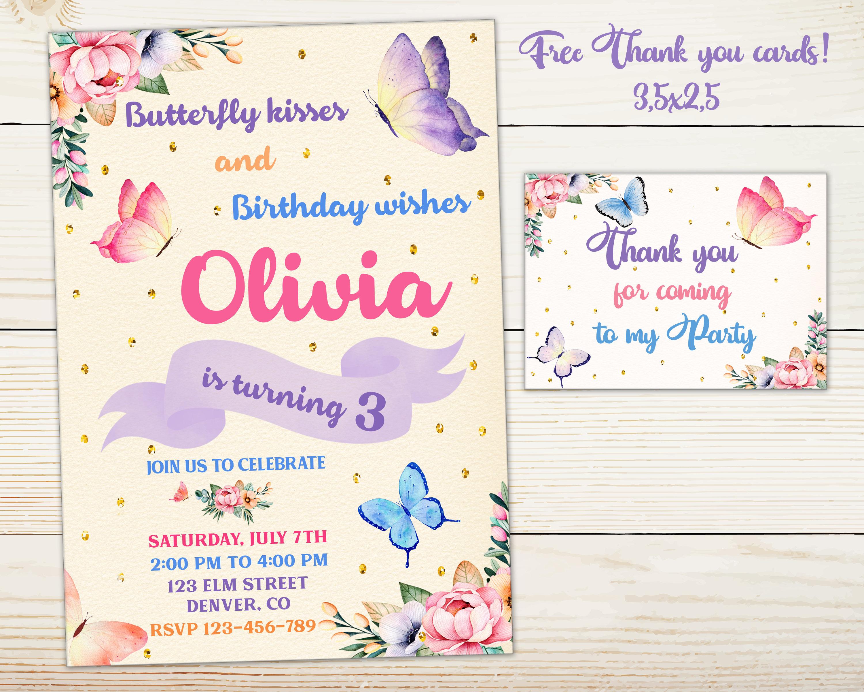 Butterfly invitation Floral Butterfly birthday invitation | Etsy