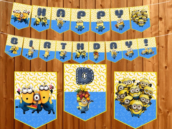Minions Banner Garland Instant Dowload Birthday Party