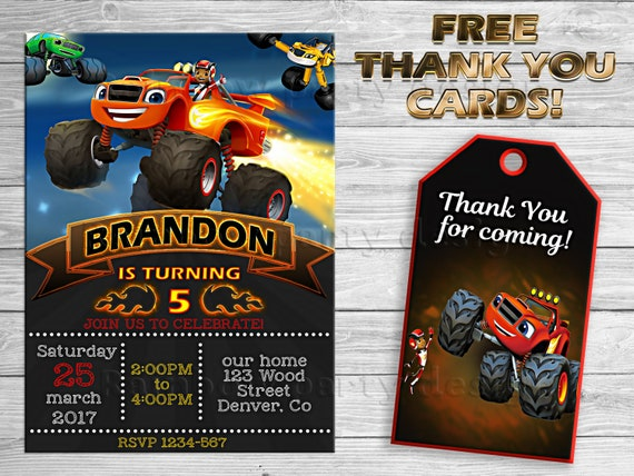 Blaze And The Monster Machines Invitation Thank You Blaze