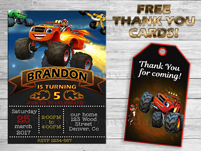 Blaze And The Monster Machines Invitation Thank You