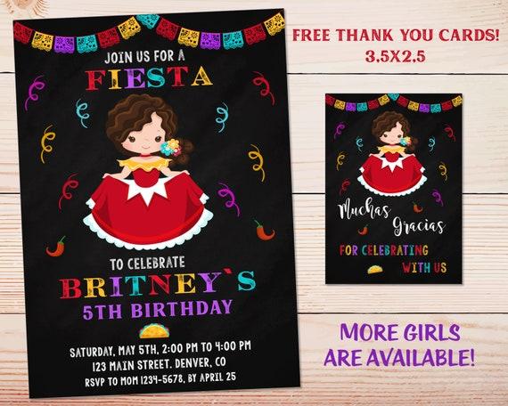 Fiesta Birthday Invitation For Girl Holy