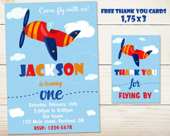 Airplane Birthday Invitation Aviator Pilot Boy
