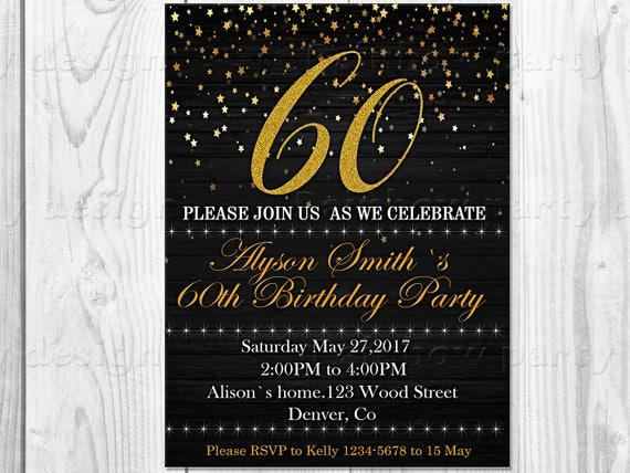 Invitation Anniversaire Adulte Fete Danniversaire 60e Etsy