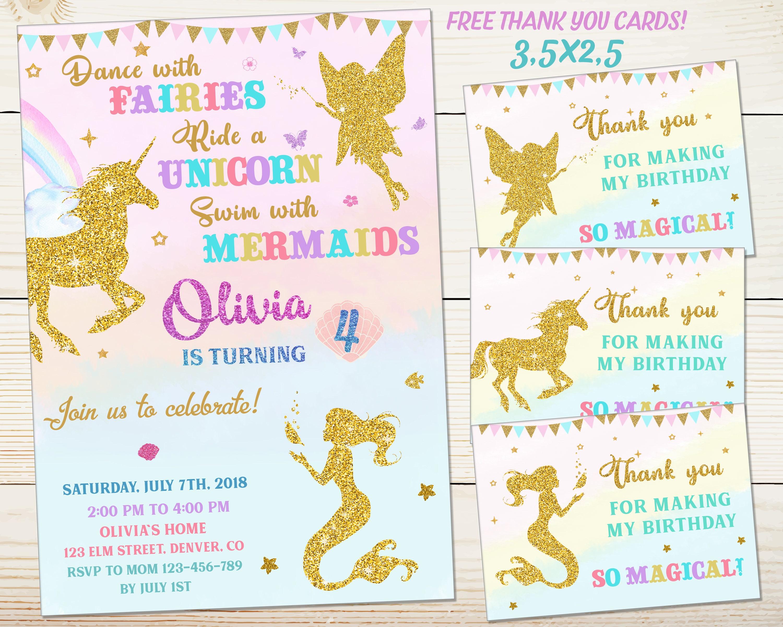 Magical Birthday Invitation Unicorn And Mermaid