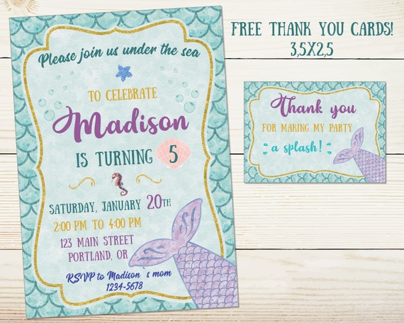 Mermaid Invitation Birthday Party