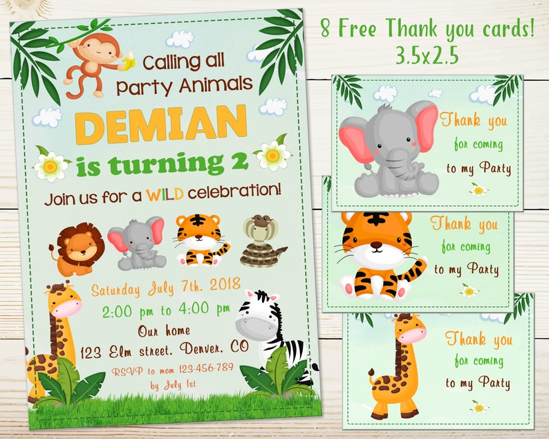 Jungle Invitation Birthday Printable 1st