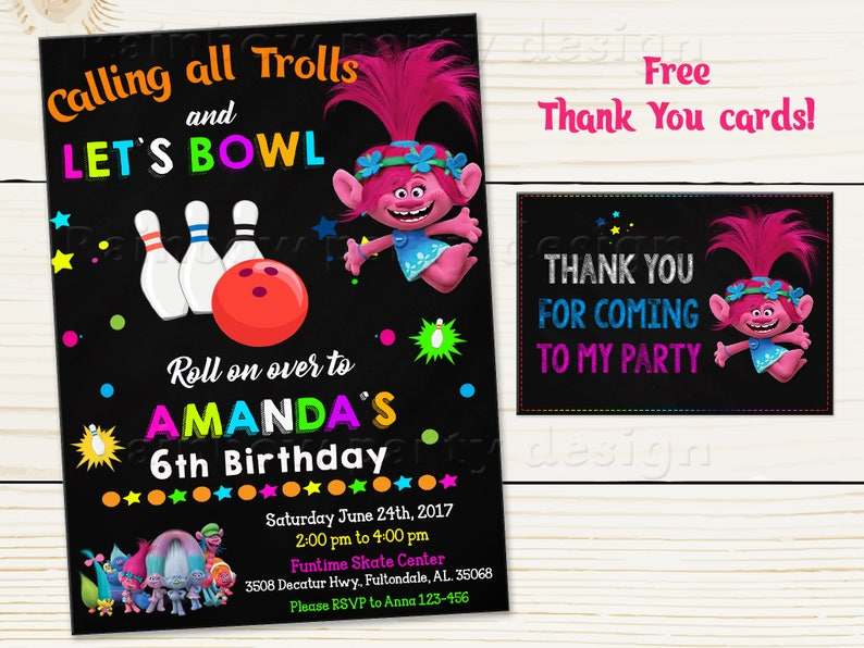 Trolls Bowling Invitation Birthday Poppy Thank You Cards Party Invite Lets Bowl