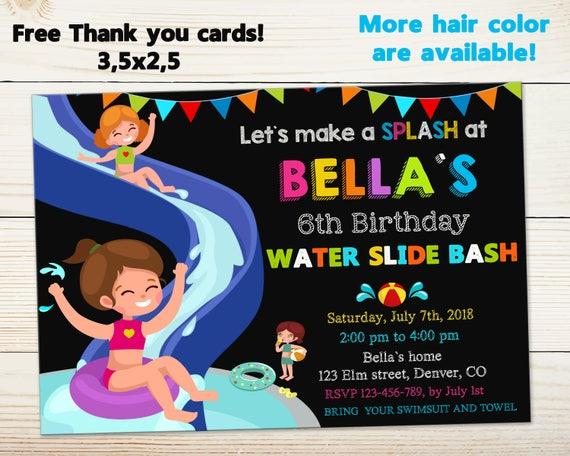 Waterslide Invitation Water Slide Birthday Pool