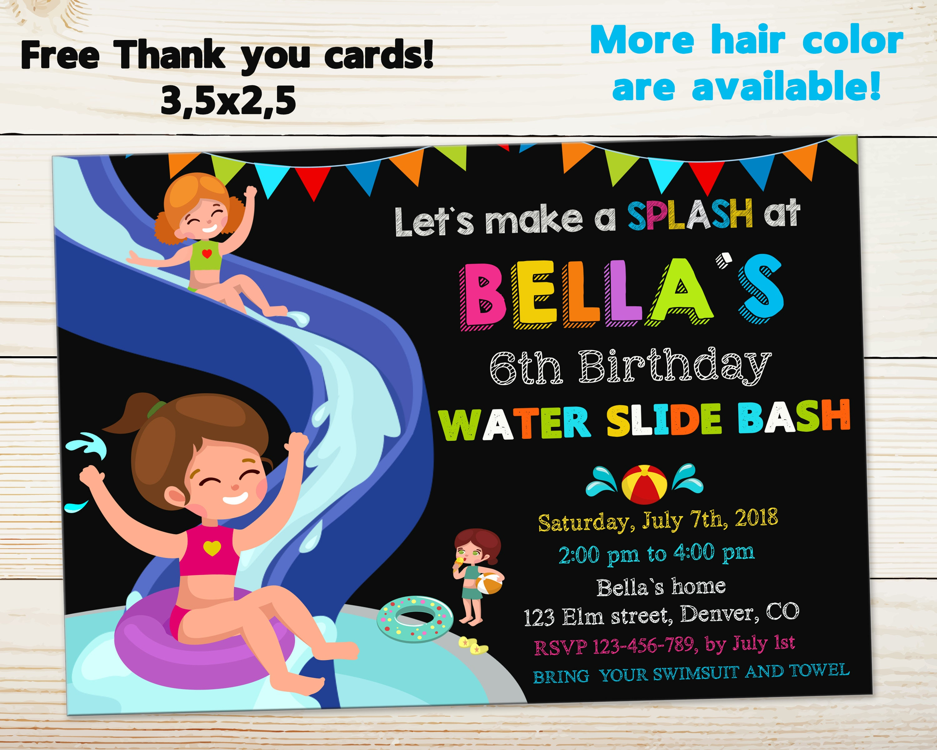 Waterslide Invitation Water Slide Birthday Invitation Pool