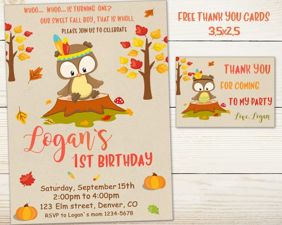 Owl Birthday Invitation First Outfit Fall