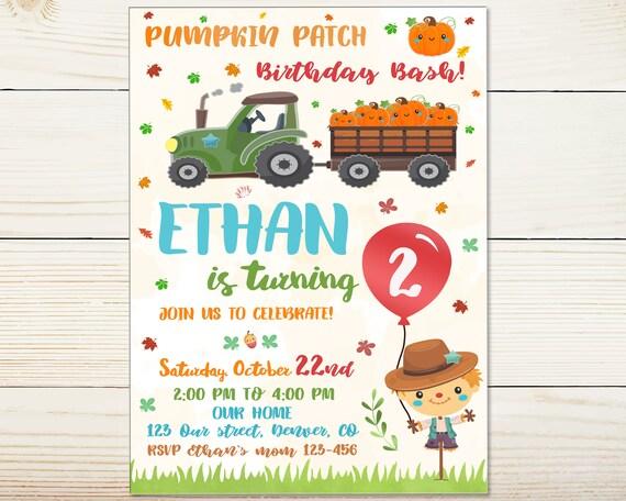 Pumpkin Patch Birthday Invitation First Birthday Pumpkin