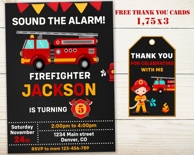 Firetruck Invitation Firefighter Birthday Invitation Fireman Etsy