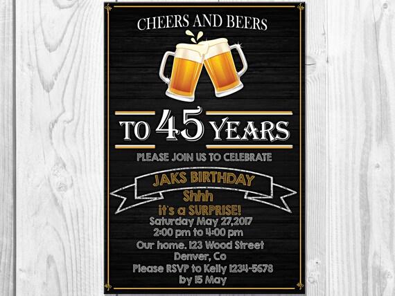 Cheers Et Bieres Invitation Anniversaire Adulte Fete Etsy