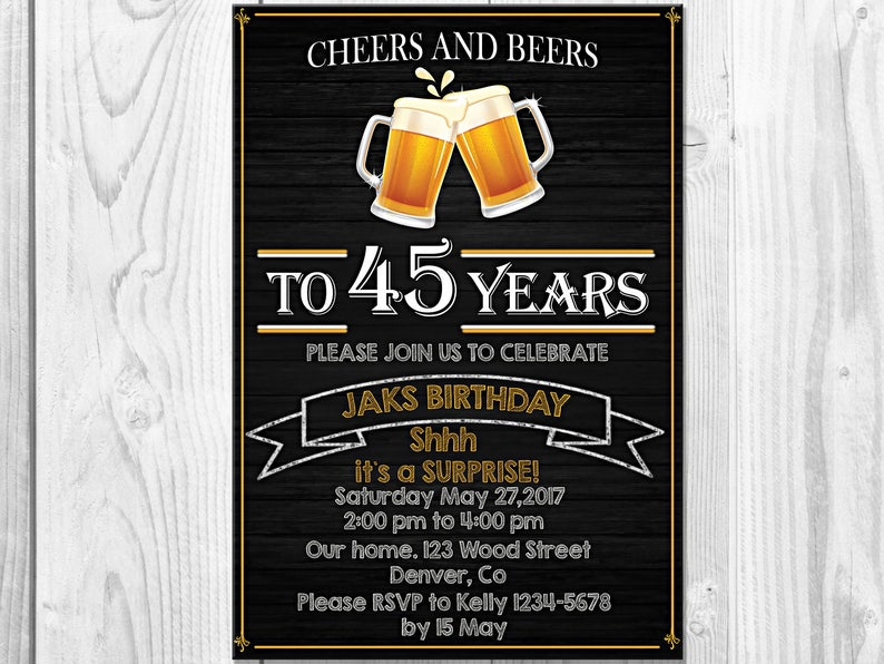 Cheers And Beers Adult Birthday Invitation