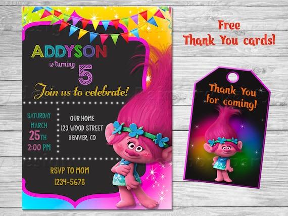 trolls birthday invitation trolls invitation troll invites etsy