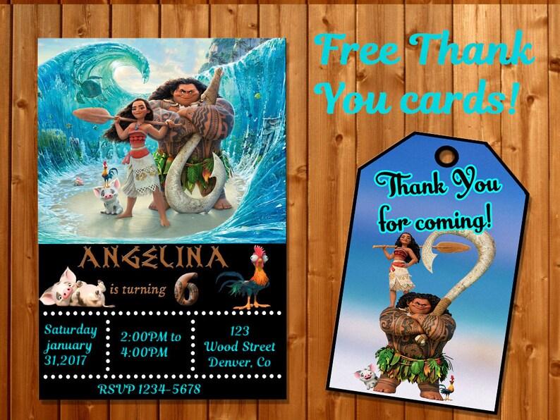 Moana Invitation Thank You Maui Birthday Party In