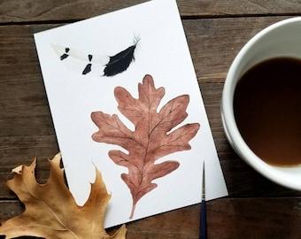 Oak Leaf & Woodpecker Feather, original watercolor painting, woodland art