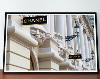 Chanel Paris Boutique Store. 31 Rue Cambon Paris France. Chanel Store. Coco Chanel Print. Coco Chanel Poster. Chanel Wall Art. Free shipping