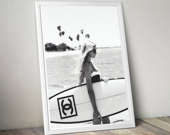 Surfing Chanel Wall Art Girl With Surfboard Chanel Print Fashion Beach Wall Decor Fashion Wall Art Coco Chanel Decor Chanel Surf Poster & Surf wall art | Etsy