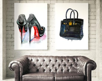 97f5faf975 ... authentic fashion prints inspired by christian louboutin shoes bag  illustration inspired by hermes birkin girly wall