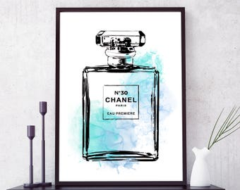 Coco Chanel Print. Chanel perfume bottle. Coco Chanel poster. Fashion Art. Fashion Print. Chanel Wall Art Fashion Wall Art Vanity Teal Decor