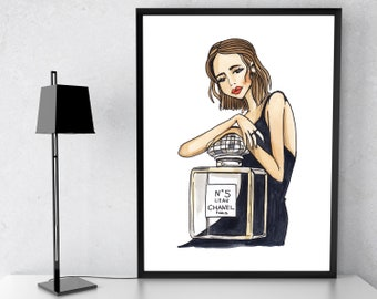 Chanel Perfume Bottle, Coco Chanel Print. Chanel Bottle, Fashion Print. Fashion Wall Art. Coco Chanel Art. Chanel Illustration. Chanel Print