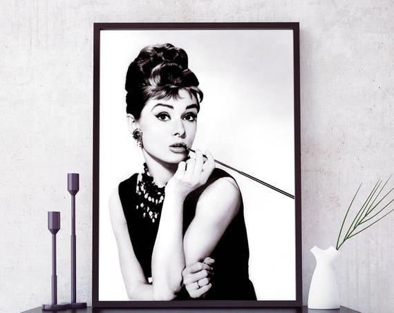 Audrey Hepburn poster Audrey Hepburn print. Fashion icon | Etsy