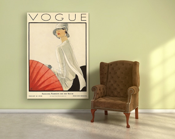 Vogue Cover Fashion wall Art. Vintage Vogue cover poster.