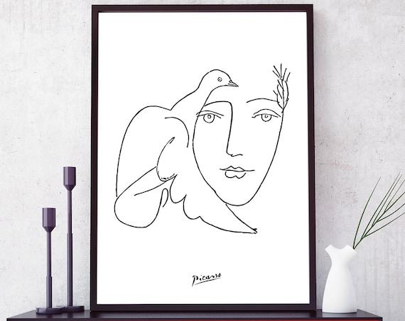 Picasso Dove print. Picasso sketches. Picasso Face & Dove | Etsy