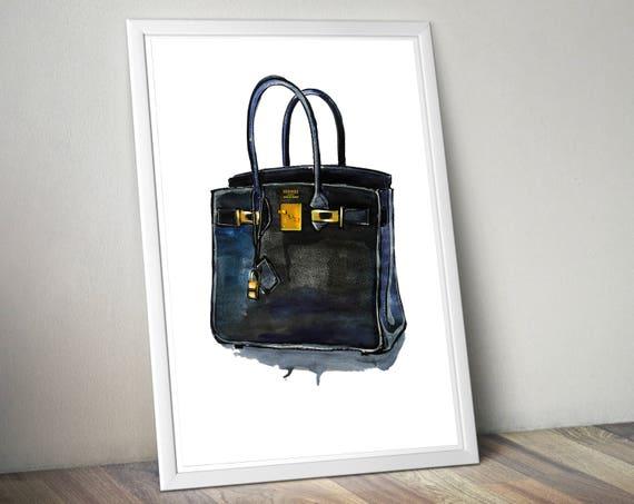 f2c89a876fa ... spain hermes birkin handbag. hermes handbag print. hermes watercolor  art. girl room decor