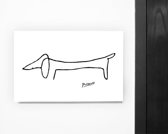 Minimalist Poster inspired by Pablo Picasso Sausage dog Lump. | Etsy