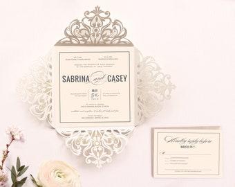 Ivory Laser Cut Classic Wedding Invitation 2018