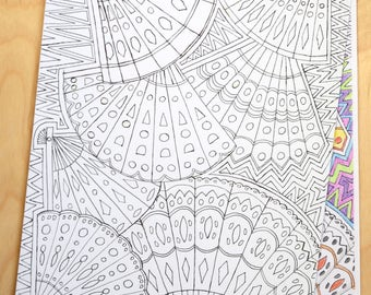 Fan, colouring sheet, downloadable sheet of fans for colouring in.