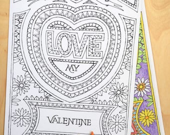 Valentine, hart, love, words, download, colouring sheet.
