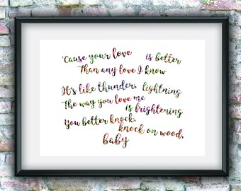 Knock on the wood, love, quotes, digital art, printable art, wall decor, digital download, downloadable art,  home decor, typography, lyrics