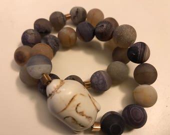 Purple Agate and White Buddha Head Bracelet