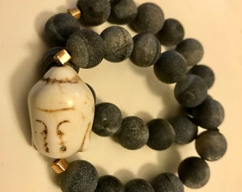 Medium Charcoal Colored Agate Beads with White Buddha Head Bracelet