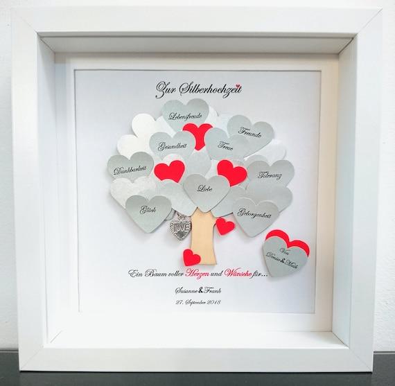 Silberhochzeit Geschenk, Hochzeitsgeschenk, 25.Jahrestag,Bilderrahmen mit  Daten,personalisiert