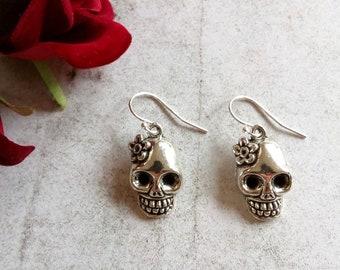 Cinco De Mayo Earrings Multi Colored Skull Earrings Day Of The Dead Earrings Fiesta Earrings Flower Skull Earrings Skull Jewelry Sugar Skull Earrings