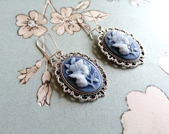 Victorian cameo stud earrings Gothic lolita jewelry for her.