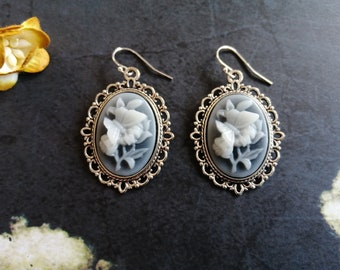 Grey cameo earrings Victorian style earrings
