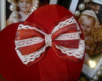 Vintage inspired red organza and cream vintage lace  Handmade stacked  Hair Bow