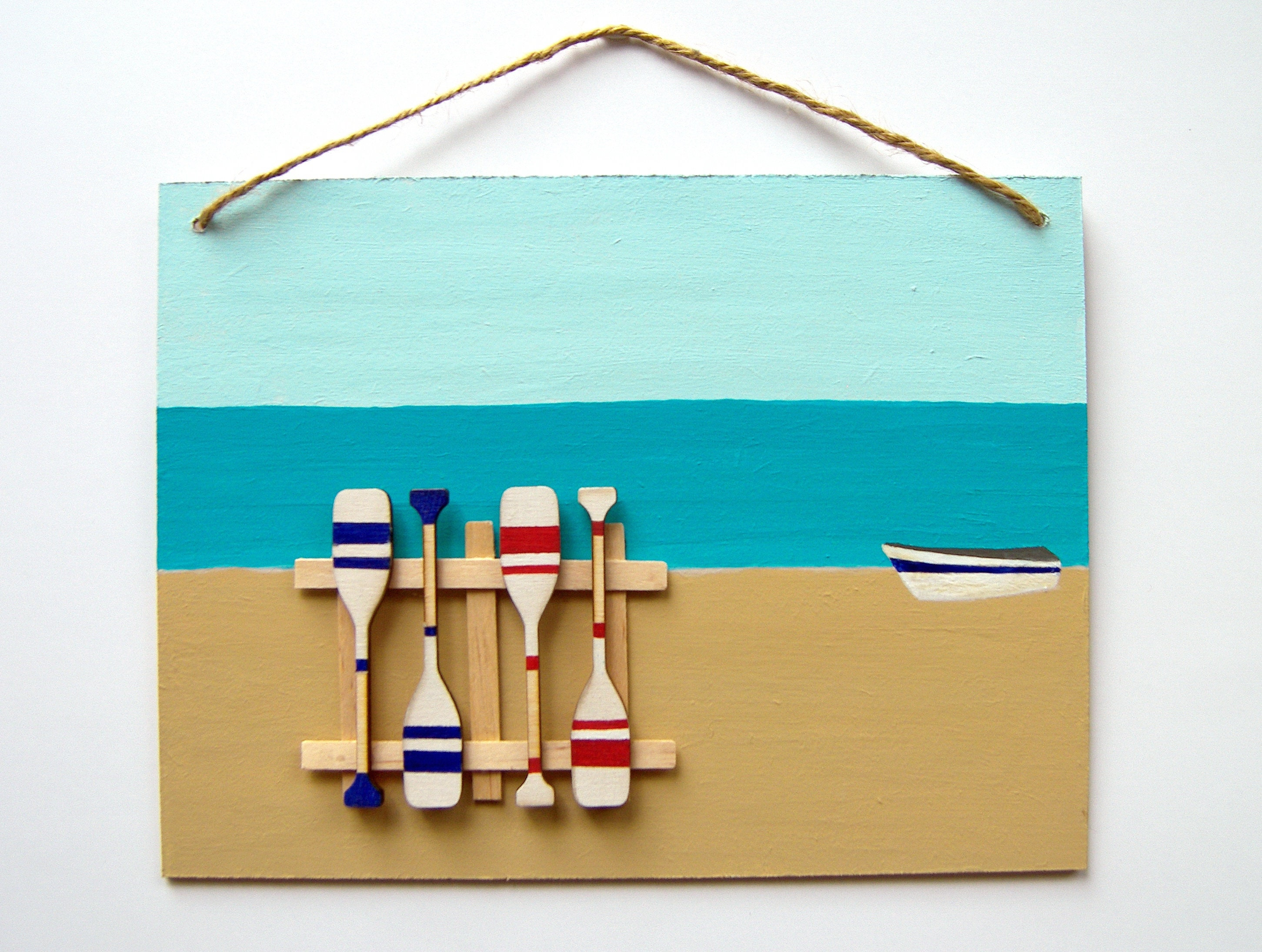 3d Beach Wall Decor Hand Painted Oars Decoration Beach Art Etsy