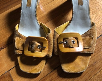 Vintage 70s Leather Tan Slide On Open Toe Buckle High Heel Sandals Size 8M by Bandolino