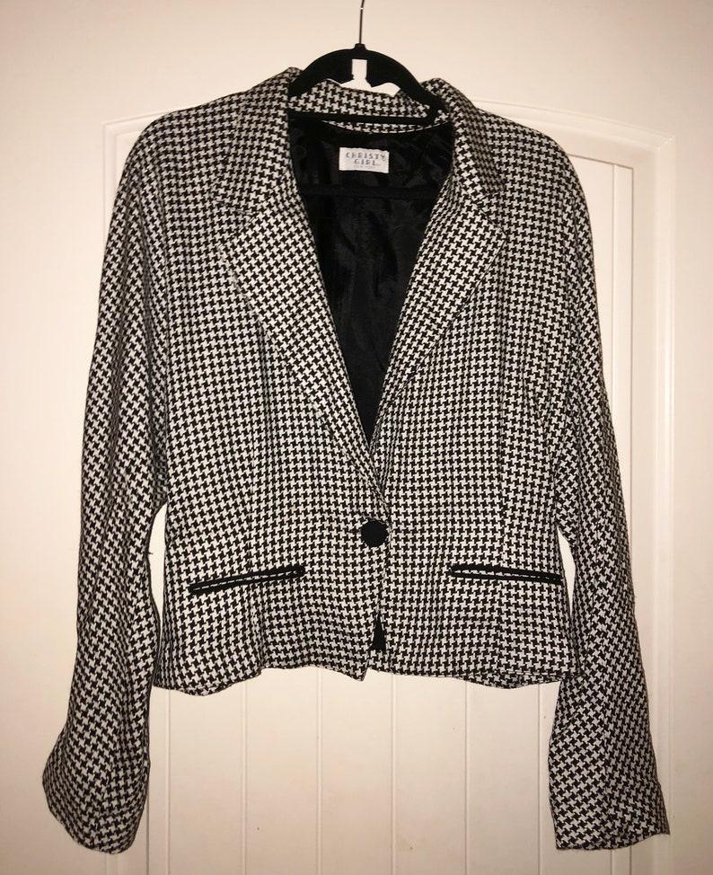 Houndstooth Blazer  Vintage Blazer Women  One Button Blazer  Black and White Blazer  Size 14 Blazer  80s Blazer  90s Blazer
