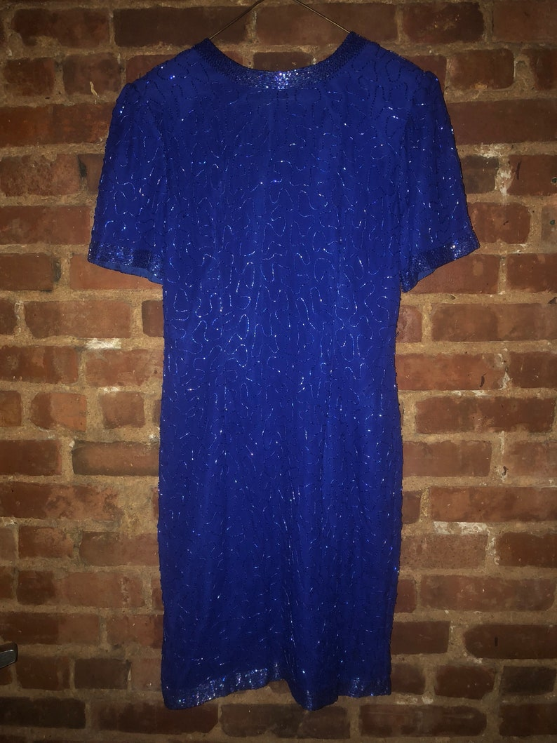 Vintage Cocktail Dress  Royal Blue Dress  80s Party Dress  Beaded Evening Dress  Stenay Dress  Sparkly Dress  Beaded Silk Dress