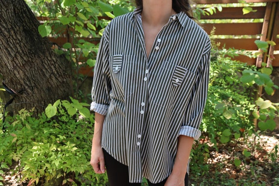 Vintage Button Up / Striped Button Down / Green Wh