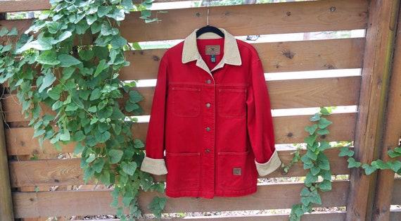 Vintage Jacket / Denim Corduroy Jacket / Red Jean