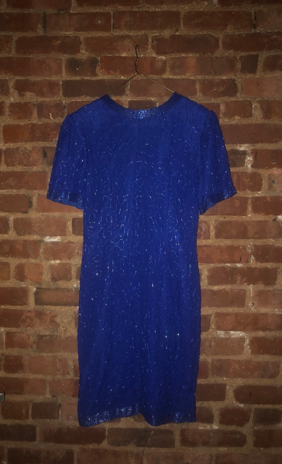 dd60d24579 Vintage 80s Royal Blue Silk Beaded Sequin Evening Cocktail